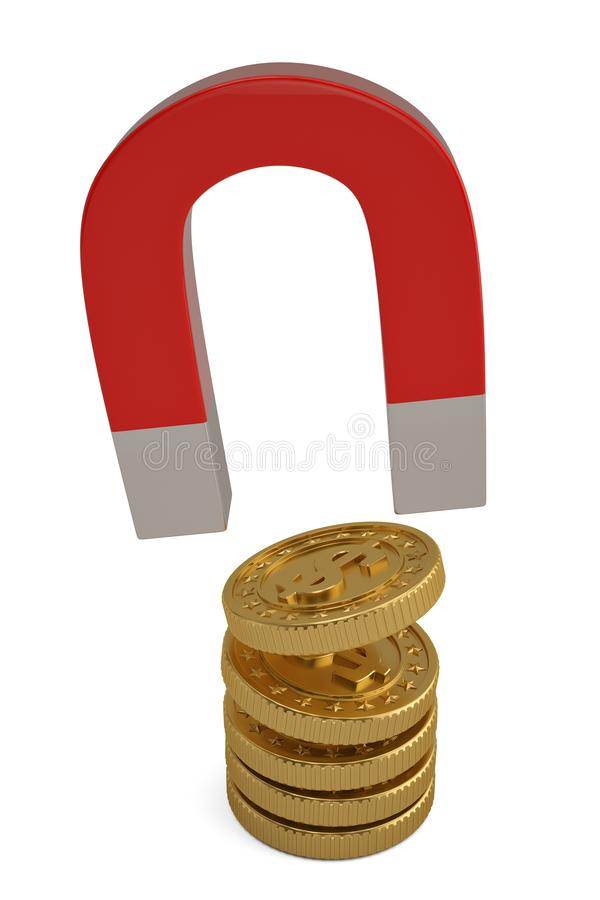 Creative financial concept magnet with coins isolated on white background 3D illustration stock illustration