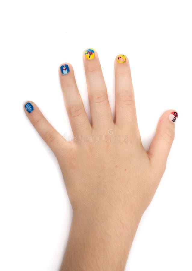 Creative Fingernail Painting With Nail Polish Stock Photo - Image of ...