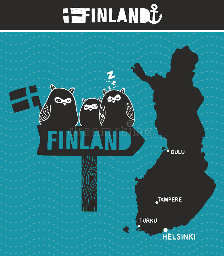 Creative Finland. Map and wooden road sign with cute owls. vector illustration
