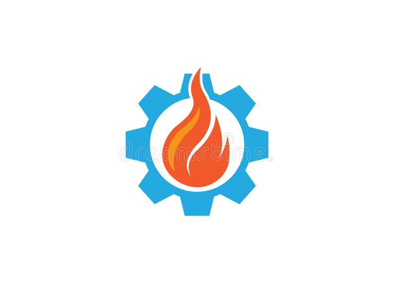 Creative fire in the gear symbol or pinion for logo design illustration stock illustration