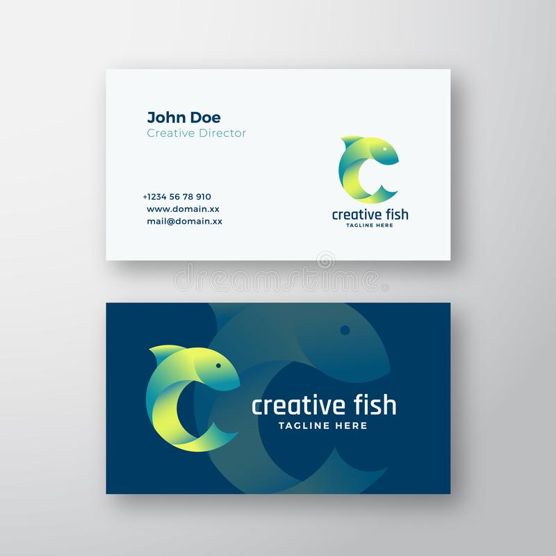 Creative Fish Abstract Vector Logo and Business Card Template Fish Silhouette in de vorm van letter C Premium royalty-vrije illustratie