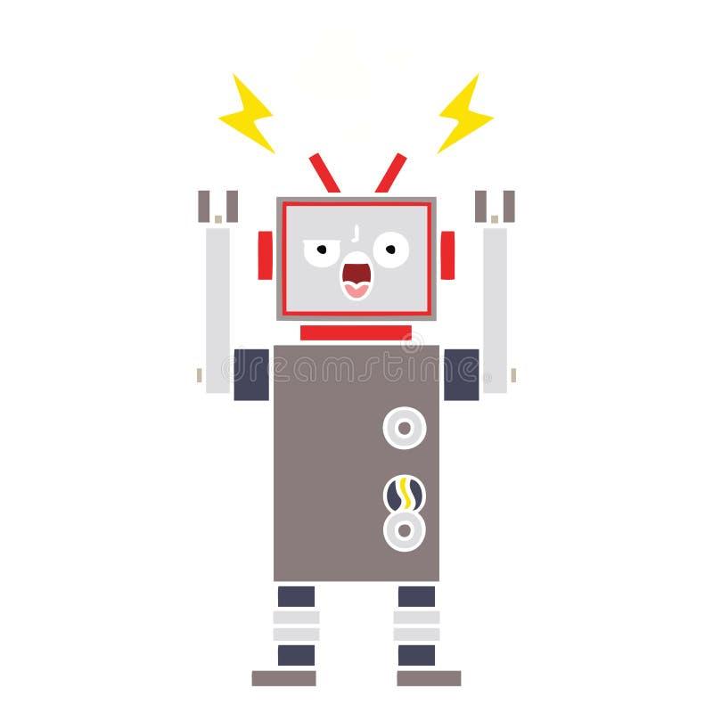 A creative flat color retro cartoon broken robot. An original creative flat color retro cartoon broken robot royalty free illustration