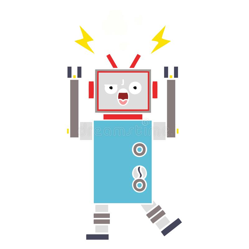 A creative flat color retro cartoon broken robot. An original creative flat color retro cartoon broken robot stock illustration