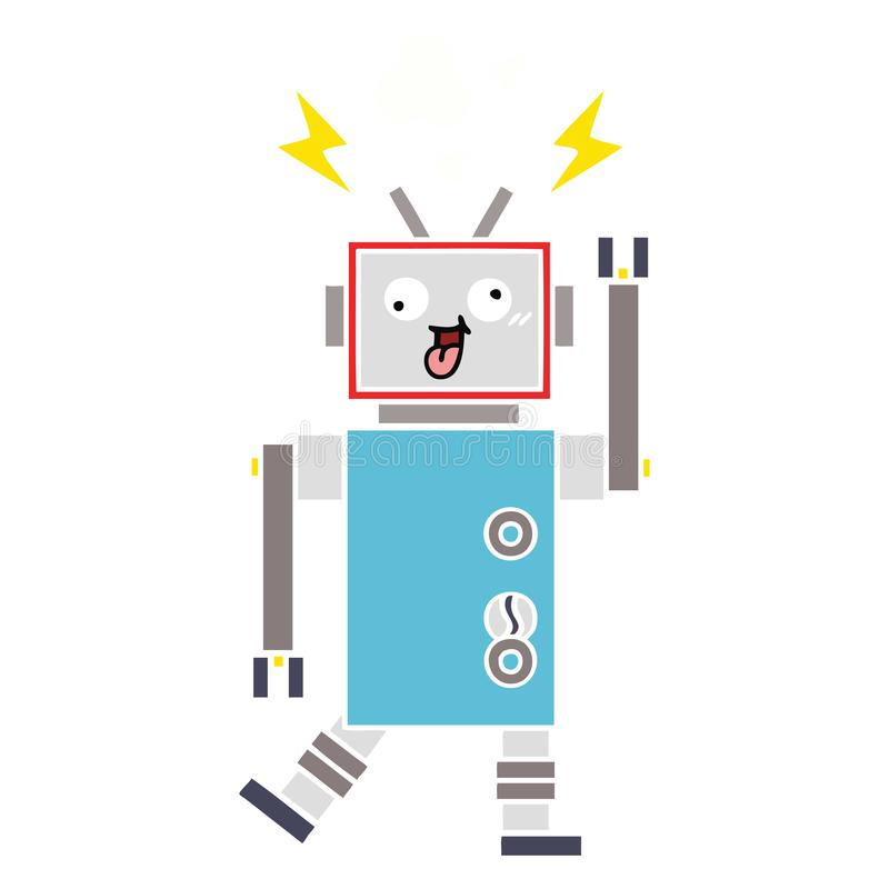 A creative flat color retro cartoon crazy broken robot. An original creative flat color retro cartoon crazy broken robot vector illustration