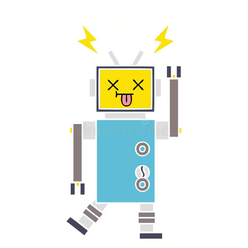 A creative flat color retro cartoon robot malfunction stock illustration