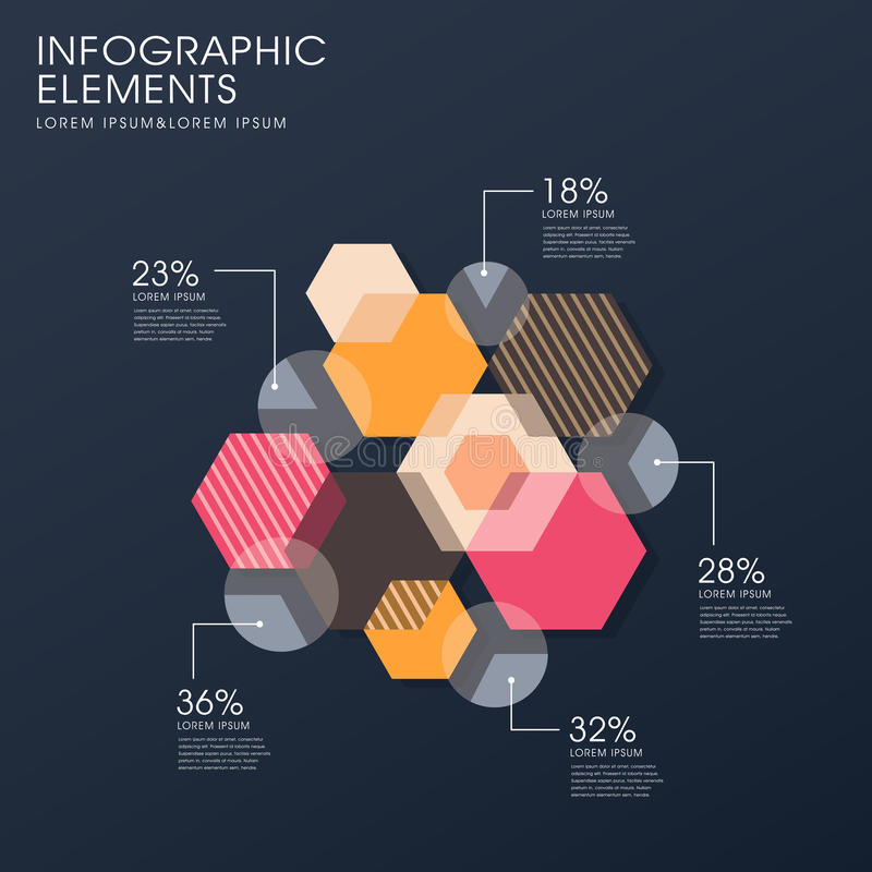 Creative flat hexagon infographics design vector illustration