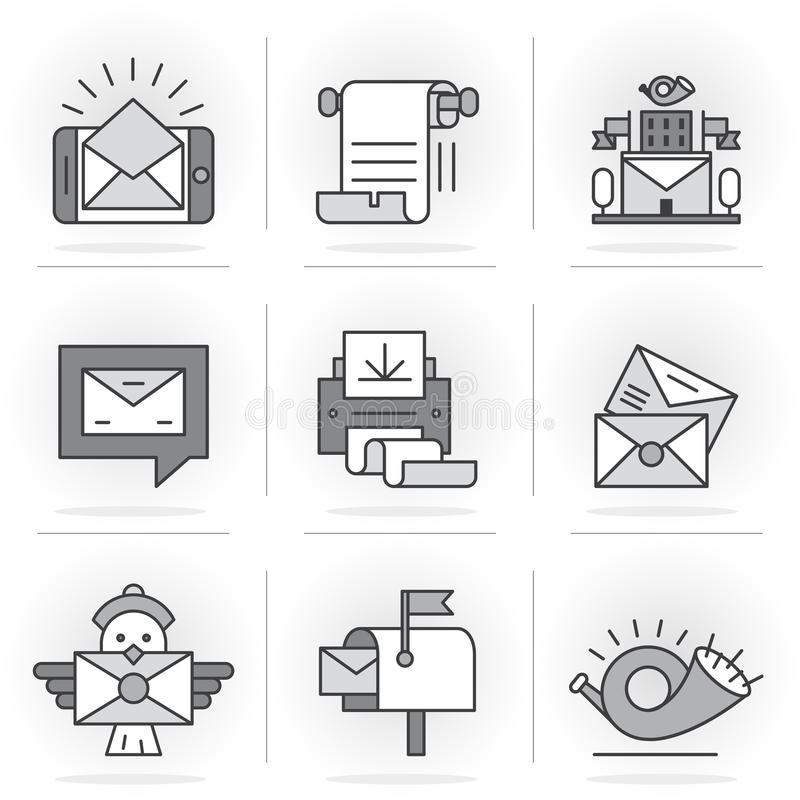 Creative Flat line icon set. Flat Line Icons Set. E-mail, Post Office, a Communication Method. Isolated Objects in a Modern Style for Your Design vector illustration