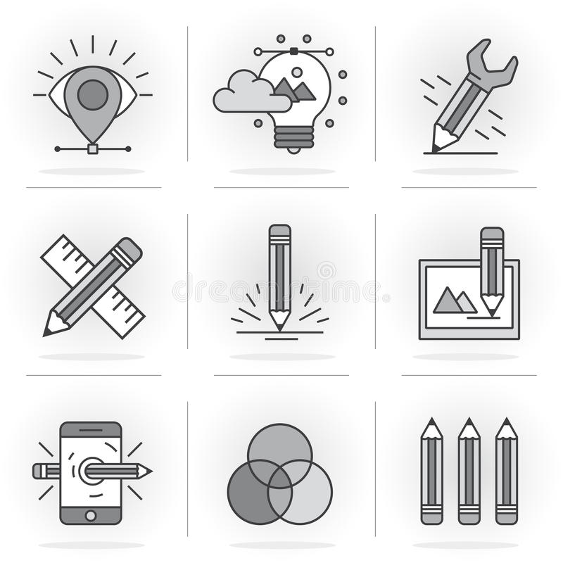 Creative Flat line icon set. Flat Line Icons Set. Vector illustration, drawing, color matching .Isolated Objects in a Modern Style for Your Design vector illustration