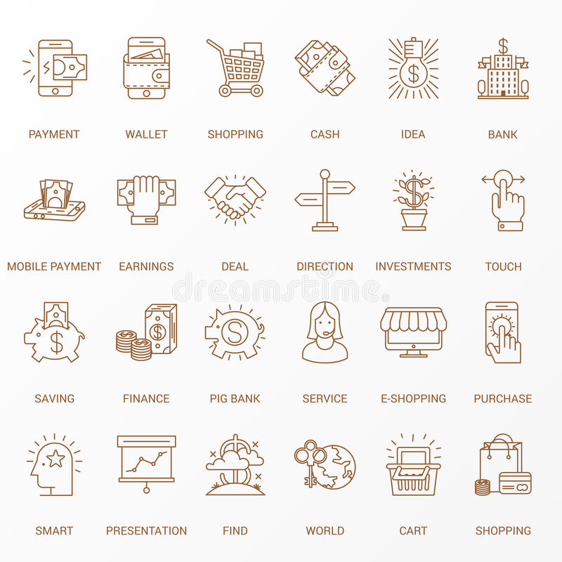 Creative Flat line icon set vector illustration