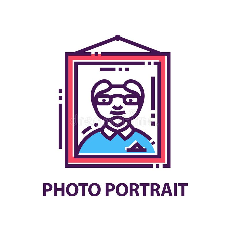 Creative flat vector emblem with portrait of man hanging on wall. Logo template for photo studio vector illustration