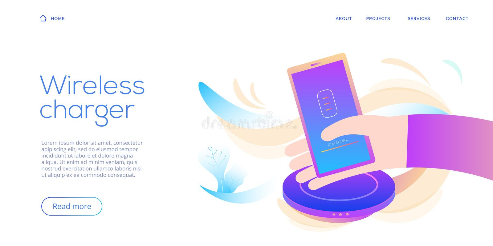 Creative flat vector illustration for inductive smartphone charging device. Mobile wireless charger background. Website landing stock illustration