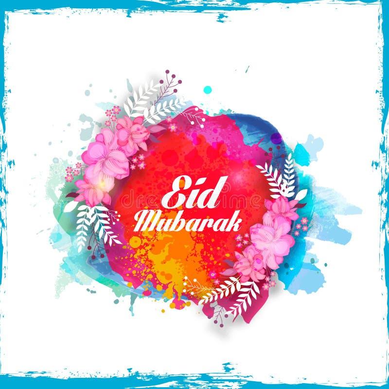 creative floral greeting card for eid mubarak stock