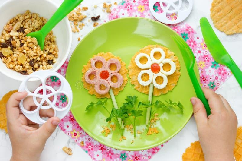 Creative flower sandwiches idea royalty free stock photo