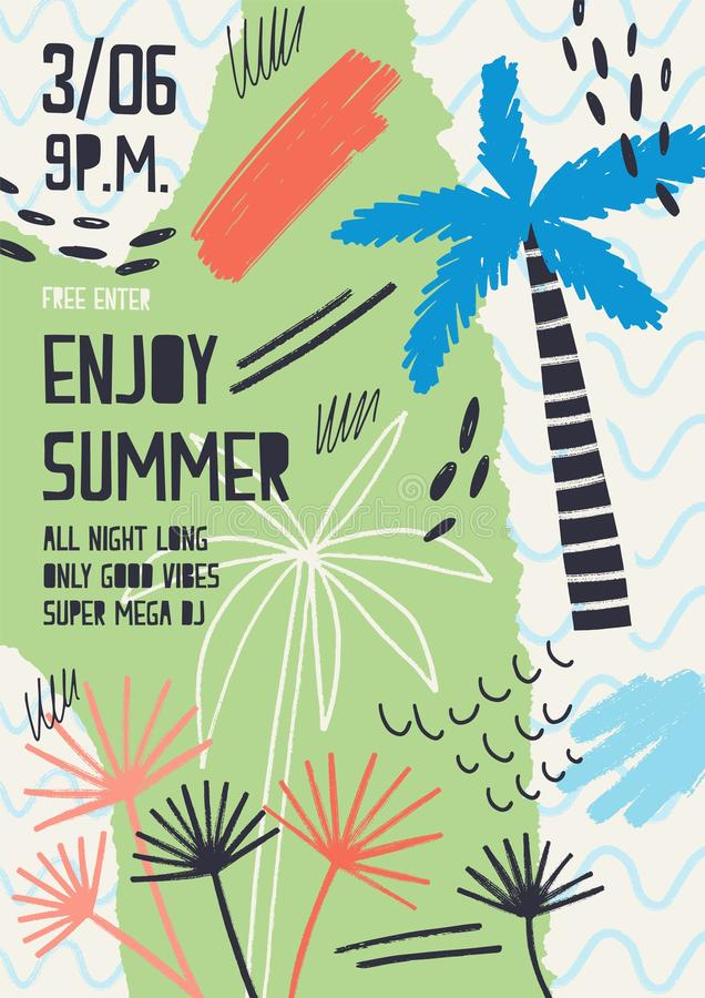 Creative flyer or poster template decorated with exotic plants, tropical palm trees, paint stains and blots for summer. Open air dance party. Modern vector vector illustration