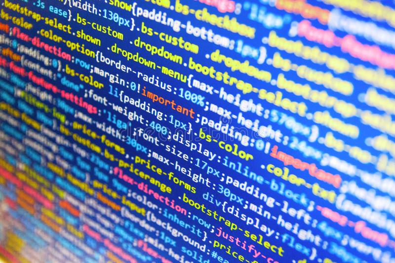 Creative focus effect. Coding cyberspace concept. Big data storage and cloud computing representation stock image
