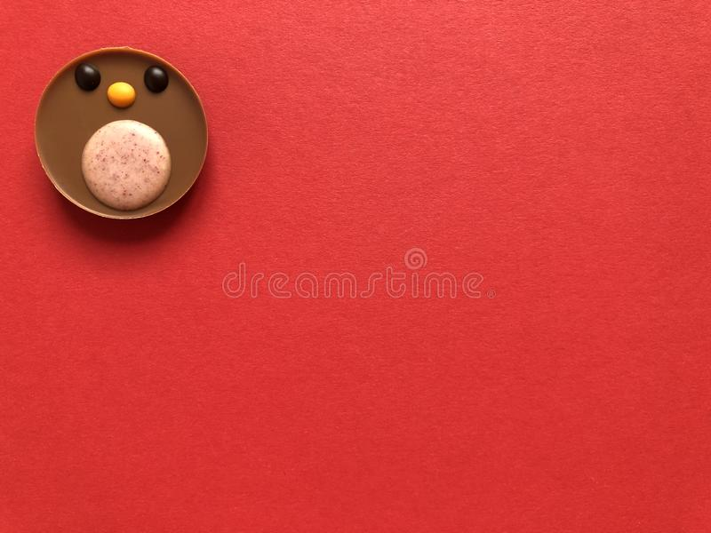 Chocolate robin redbreast, a delicious Christmas treat. Creative food concept. Delicious milk chocolate round robin redbreast, festive Christmas indulgent treat stock photography