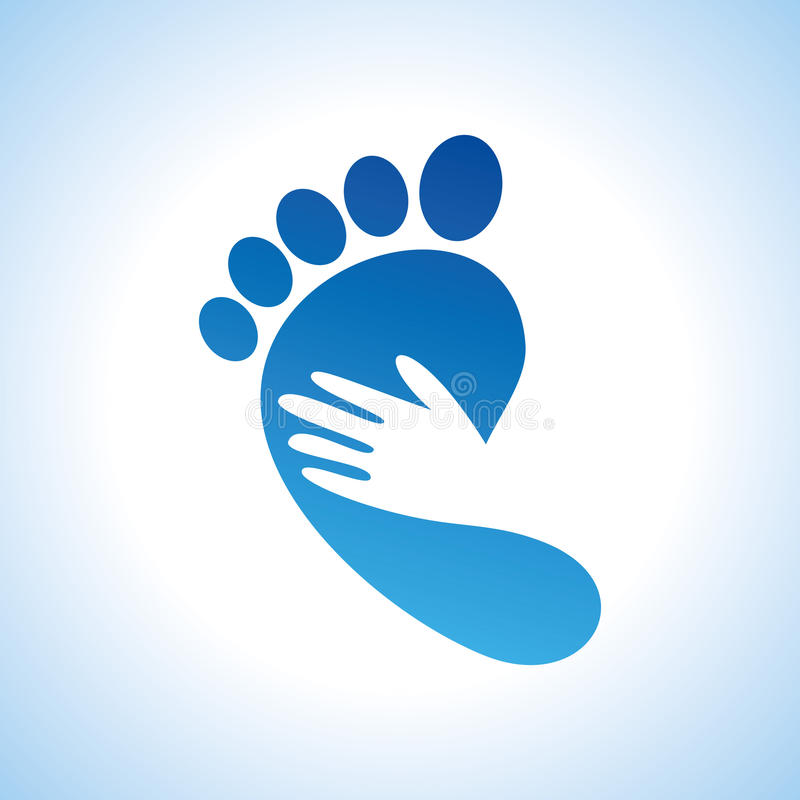 Creative foot care icon with palm royalty free illustration