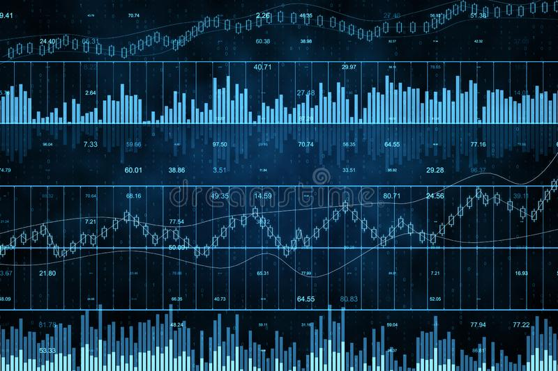 Creative forex chart. Grid background. Invest and stats concept. 3D Rendering stock illustration