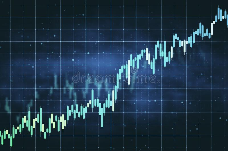 Analysis and trade concept. Creative forex chart grid sketch on blurry blue background. Analysis and trade concept. 3D Rendering royalty free illustration