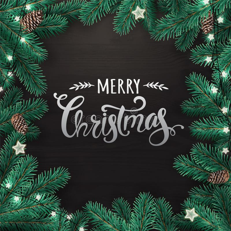 Creative frame made of Christmas fir branches. Silver Merry Christmas text on black wooden background stock illustration