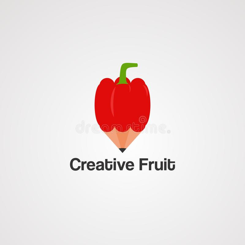 Creative fruit with red pencil logo vector, icon, element, and template for company royalty free illustration