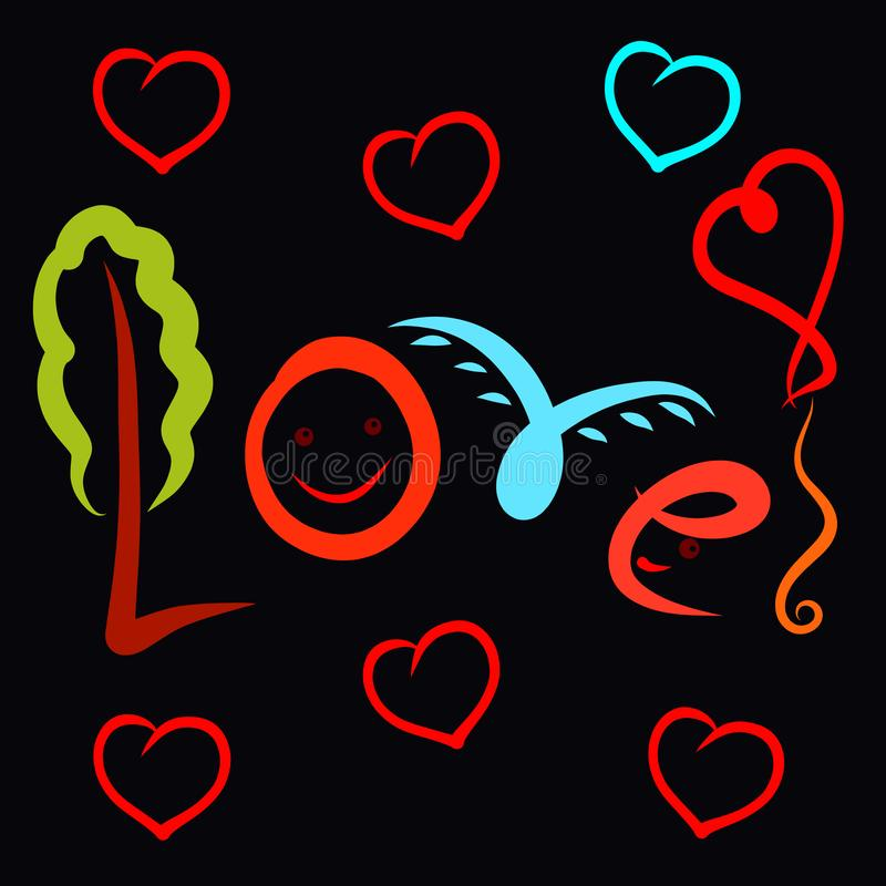 Creative fun word Love on a black background.  vector illustration