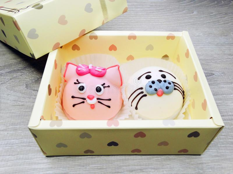 Creative funny animal form cakes sweet food dessert in gift box stock image