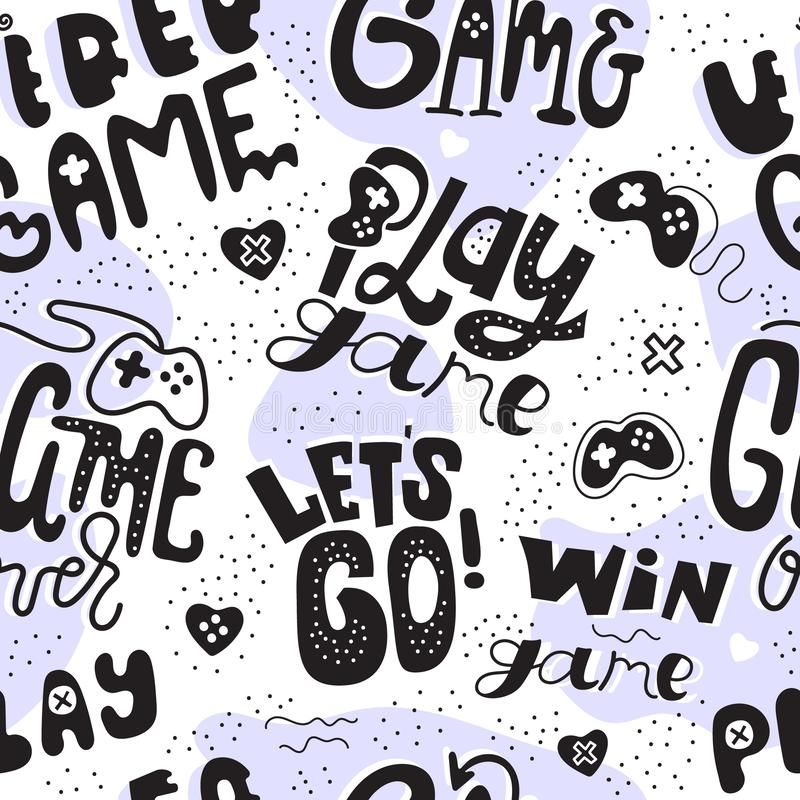 Creative game seamless pattern for boy and girl. Print design for gaming, poster, web, banner. Lettering, text royalty free stock images