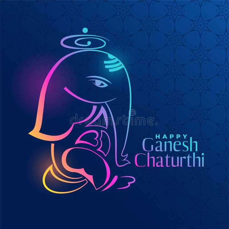 Creative ganpati design on blue background. Vector royalty free illustration