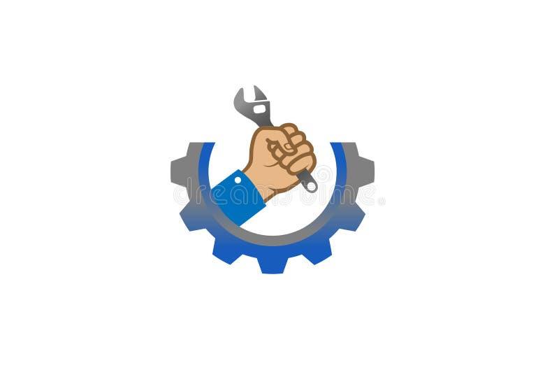 Creative Gear Wrench Hand Service Logo Design Illustration. Creative Gear Wrench Hand Service Logo Design royalty free illustration