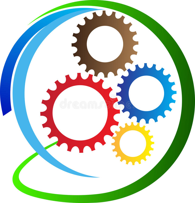Creative gears. A vector drawing represents creative gears design stock illustration