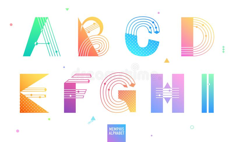 Creative geometric Alphabet set 1 of 3. Postmodernist design typeface in Memphis style. Decorative font with gradient. Vector stock illustration