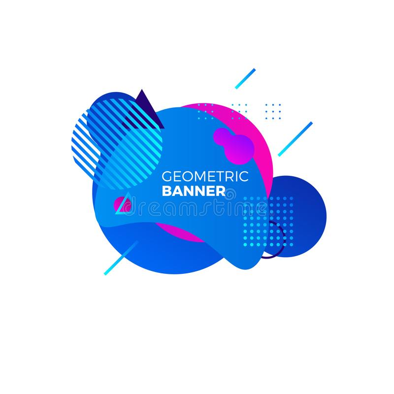 Creative geometric banner template. Colorful blue gradient shapes. Modern futuristic graphic elements for music album royalty free illustration