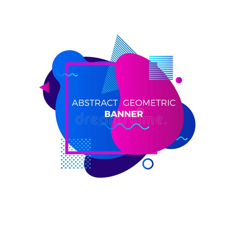 Creative geometric banner template. Colorful blue and purple gradient shapes. Modert graphic elements with space for your text. stock illustration