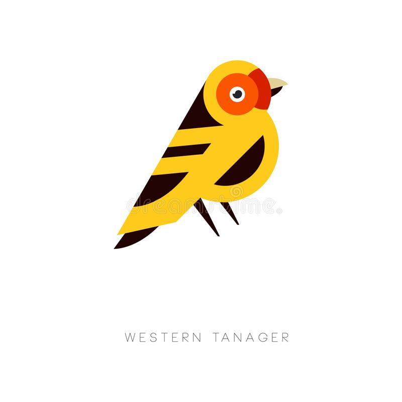 Creative geometric icon of western tanager. Bird logo in trendy flat style. Colorful vector element for business emblem royalty free illustration