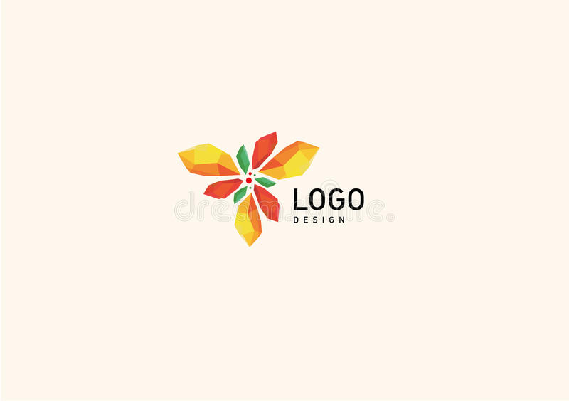 Creative geometric logo colored crystals stock images