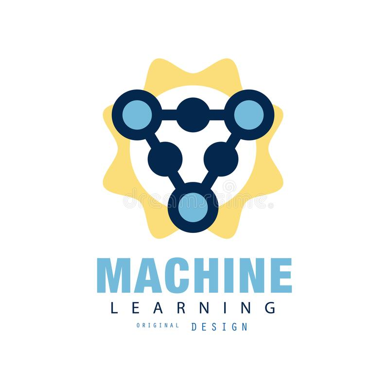 Creative Flat Logo Of Machine Learning Computer Science Or Industry