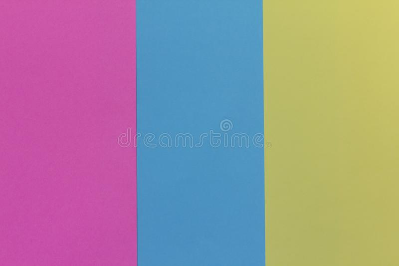 Creative geometric paper background. Pink, blue, yellow colors. stock photo