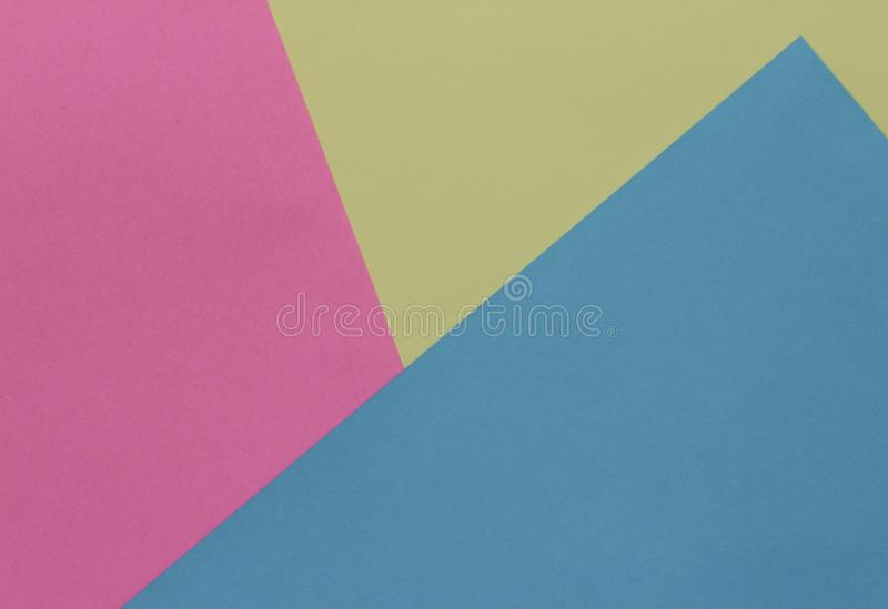 Creative geometric paper background. Pink, blue, yellow pastel stock photos