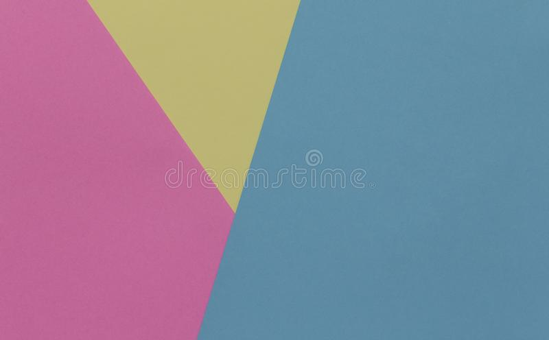 Creative geometric paper background. Pink, blue, yellow pastel royalty free stock images