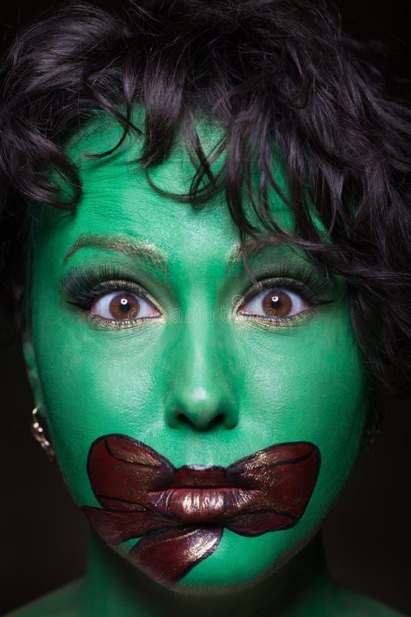 Creative gift make-up. Close-up of a creative gift make-up stock photo