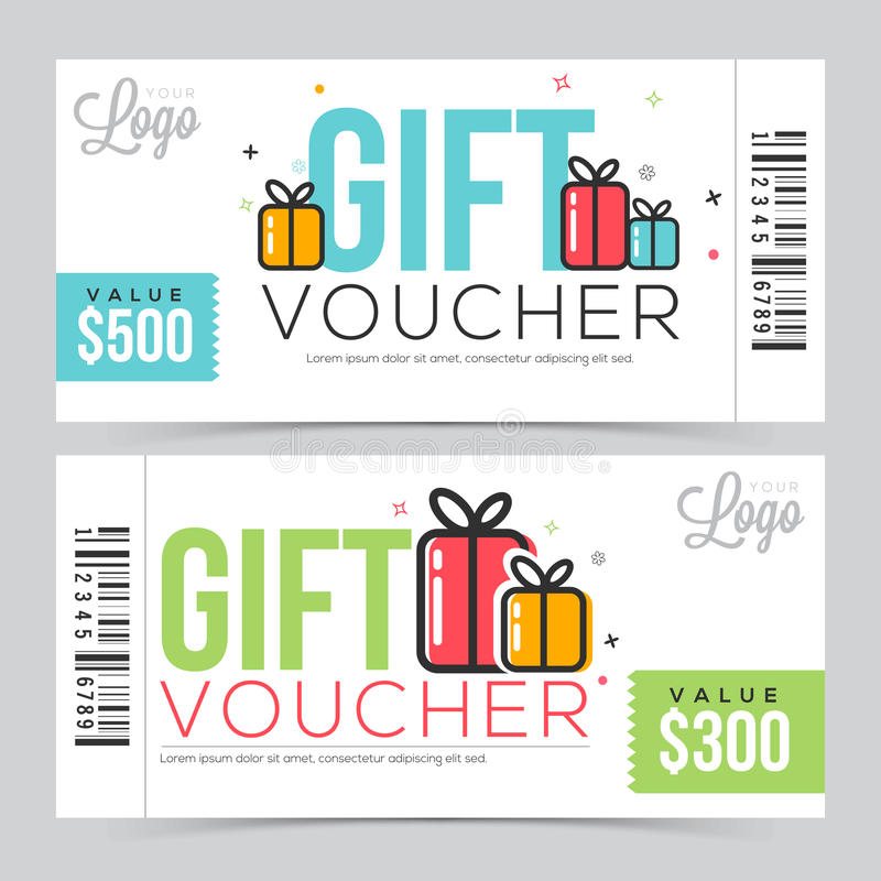Creative Gift Voucher Or Coupon Template. Stock Illustration