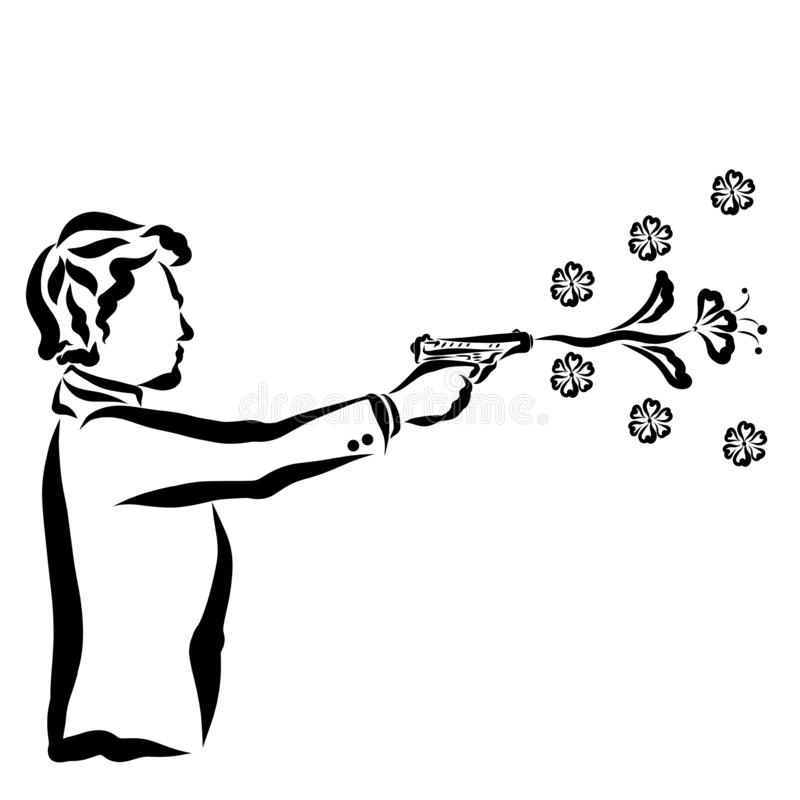 Creative gift for the woman he loved, shot from a pistol, flowers.  vector illustration