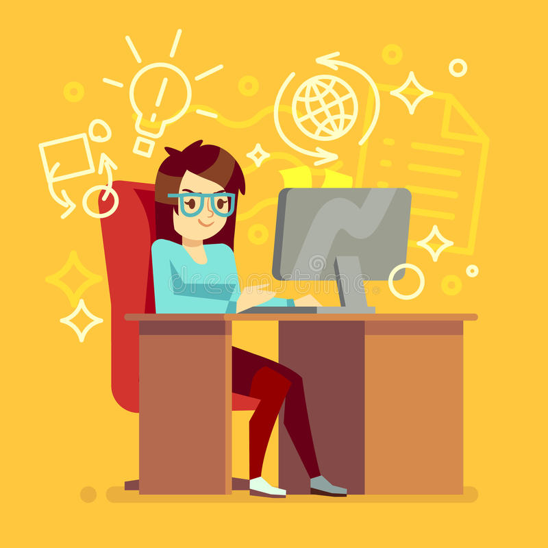 Creative girl work at home office with computer vector illustration. Woman freelancer or secretary character vector illustration