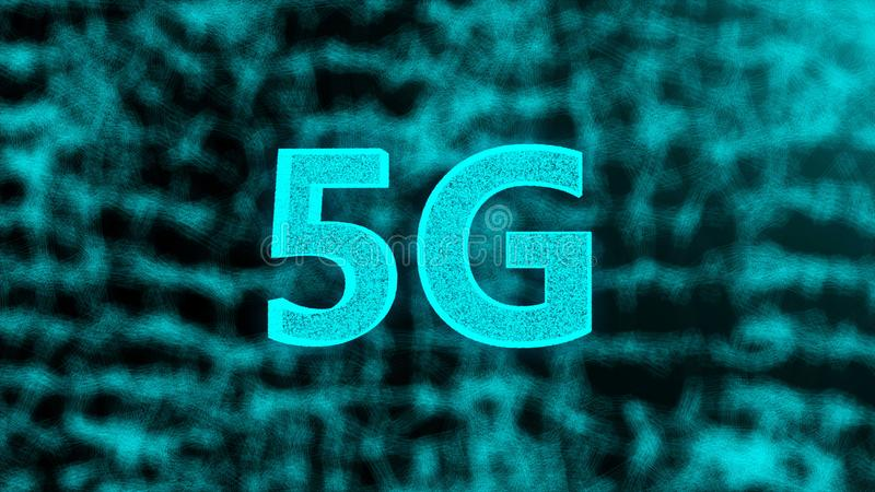 Creative glowing 5G backdrop, this is mobile internet concept, 3d render stock illustration