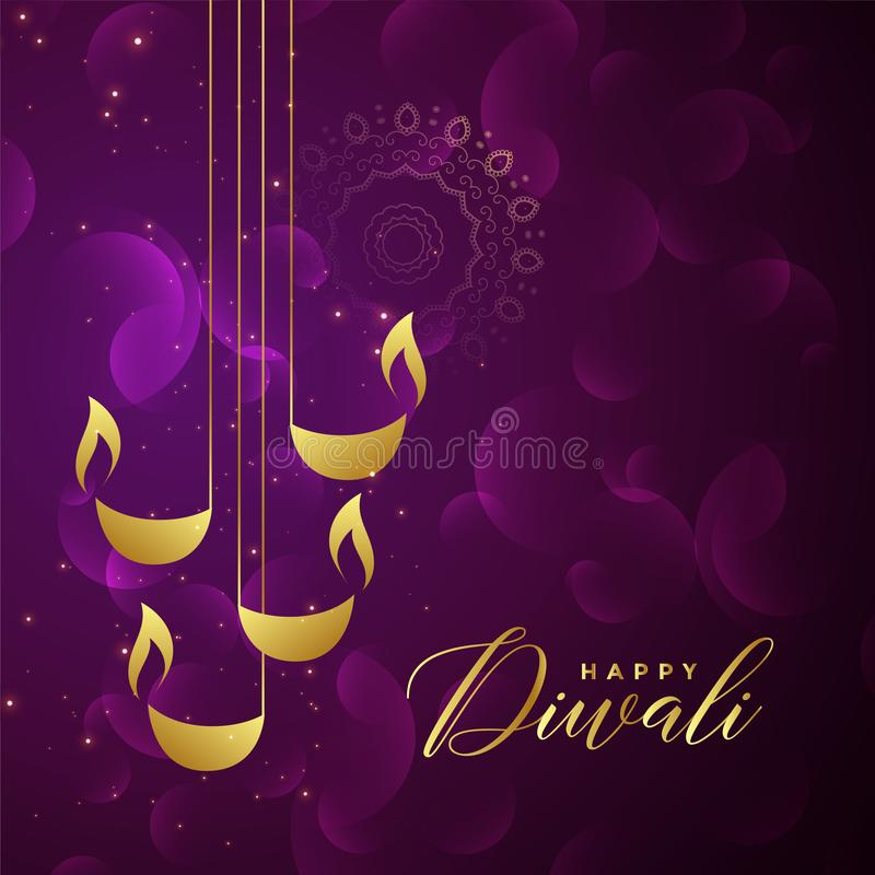 Creative golden diwali diya design on purple shiny background royalty free illustration