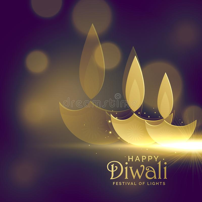 creative golden diwali diya with glowing light effect vector background royalty free illustration