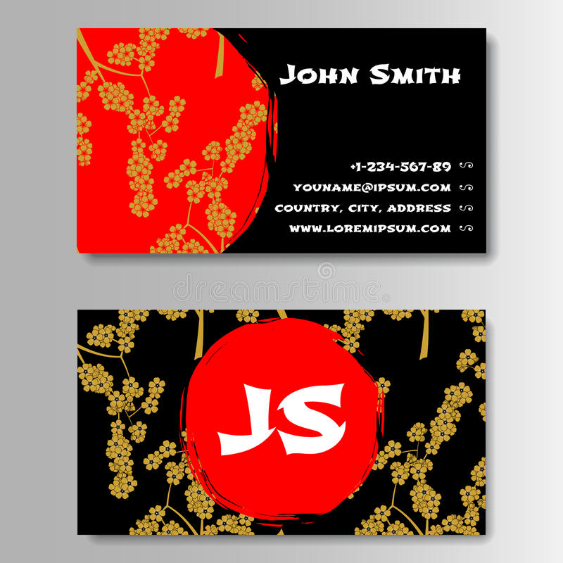 Creative Golden And Red Business Visiting Card royalty free illustration