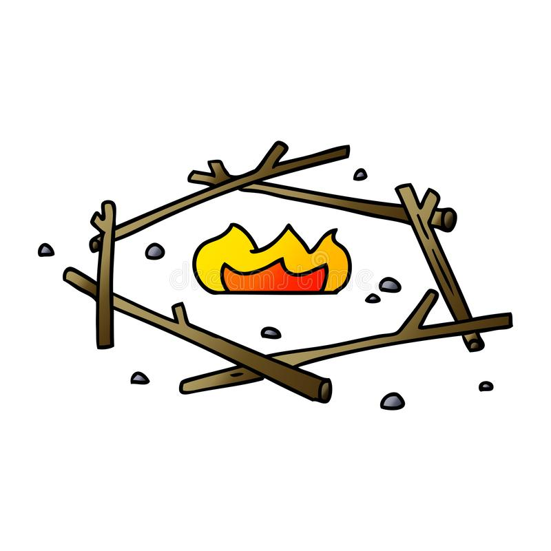 A creative gradient cartoon doodle of a camp fire. An original creative gradient cartoon doodle of a camp fire vector illustration