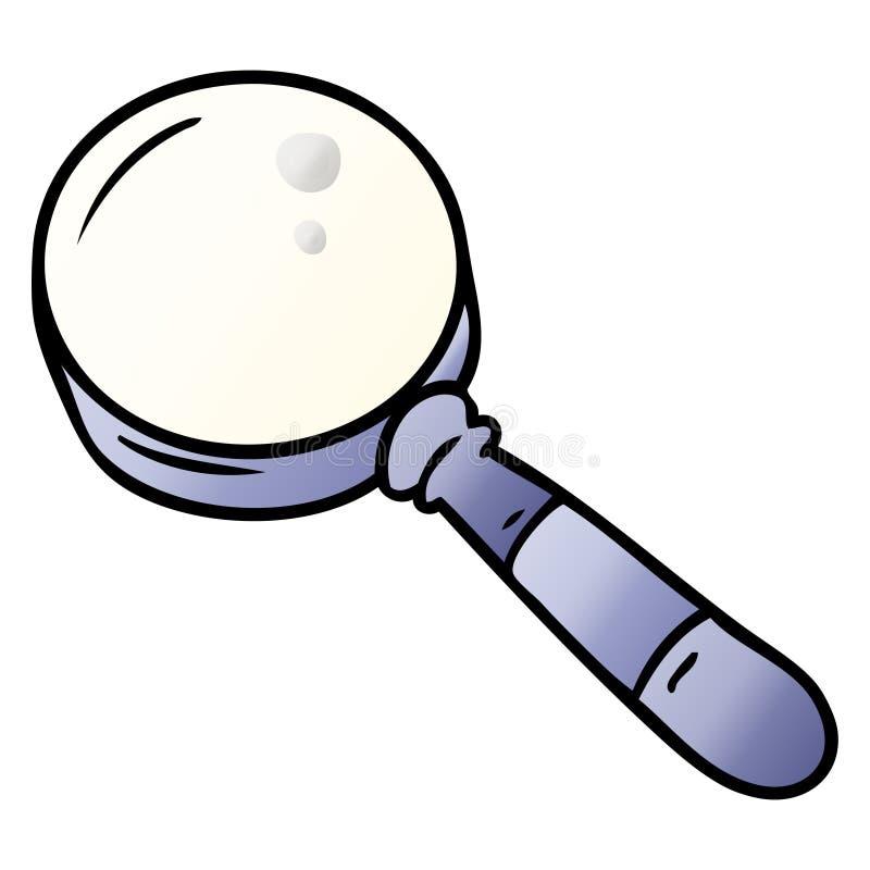 A creative gradient cartoon doodle of a magnifying glass. An original creative gradient cartoon doodle of a magnifying glass stock illustration